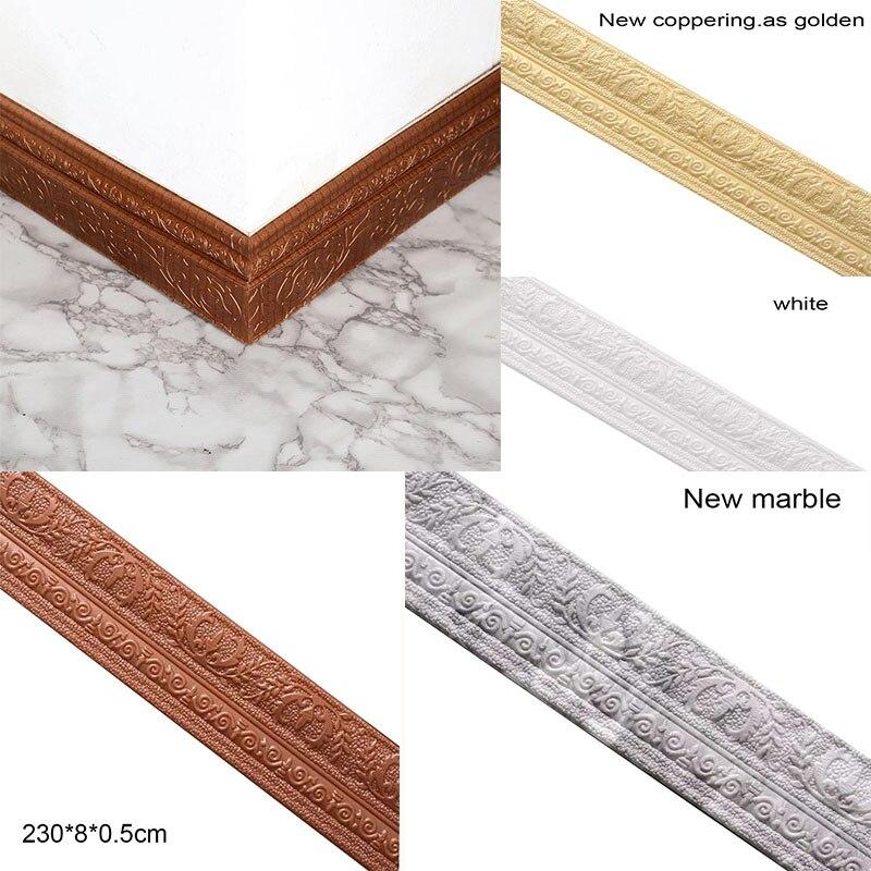 230x8x0.5cm Wall Sticker 3D Foam Edging Strip Sticker Home Decor Self-adhesive Wall Waist Line Embossed Waterproof Corner Line
