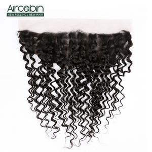 Aircabin Brazilian Deep Wave Frontal Closure Remy 100% Human Hair Frontal 13x4 Lace Frontal Closure Pre Plucked Free Shipping