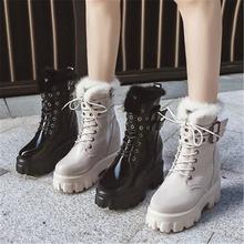 Осенне зимние теплые кожаные ботинки в байкерском стиле; Модная