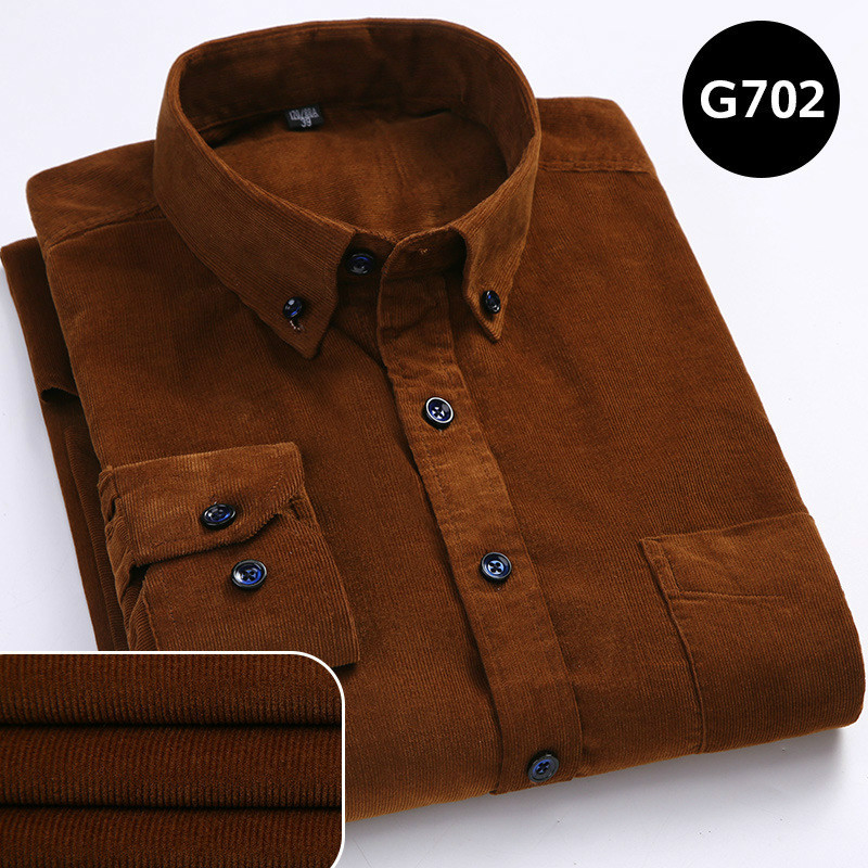 Autumn Winter Warm Men Thermal Shirt Social Long Sleeve Male Corduroy Shirt Casual Cotton Large Size Brown Striped Boys Shirts