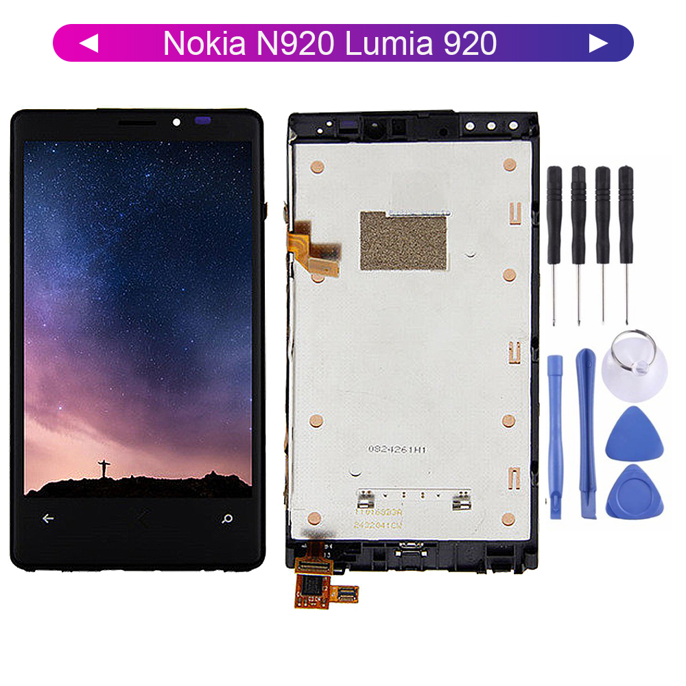 For <font><b>Nokia</b></font> N920 Lumia 920 LCD <font><b>Display</b></font> Digitizer Touch Screen Sensor Assembly with Frame <font><b>1280</b></font>*768 Free Tools image