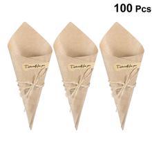 50/100Pcs DIYกระดาษคราฟท์Cones Candyกล่องนวนิยายสร้างสรรค์Ice Creamผู้ถือดอกไม้Kraftกระดาษสำหรับงานแต่งงานของขวัญCrafting