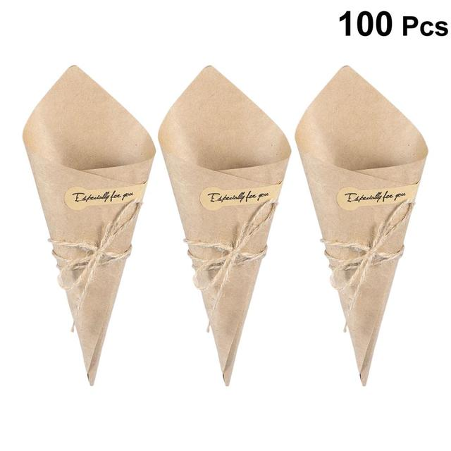 50/100pcs DIY Kraft Paper Cones Candy Boxes Novel Creative Ice Cream Flower Holder Kraft Paper for Wedding Party Gifts Crafting