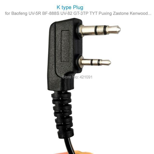 2Pin Cristal Câble Casque Écouteur Micro pour Baofeng UV-5R BF-888S UV-82 GT-3TP TYT Puxing Zastone Talkie-walkie Radio Bidirectionnelle