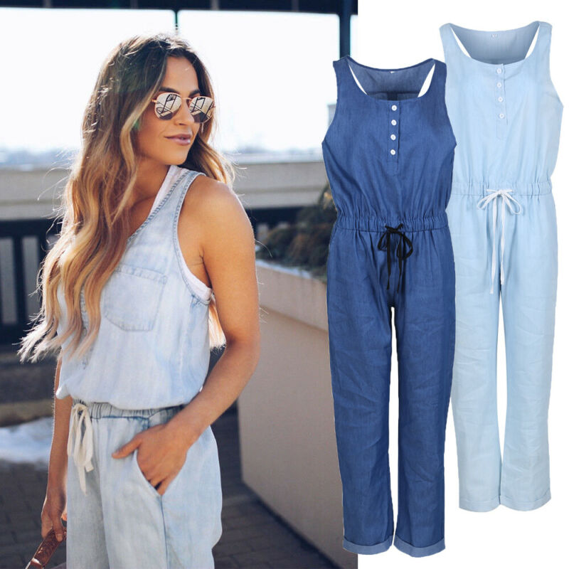 Denim Wash Overall For Summer Lady Women Jumpsuit Casual Oversized Boyfriend Baggy Sleeveless Loose Romper Pants