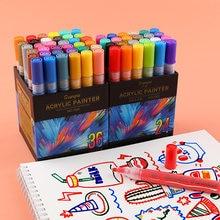 36 cores acrílico caneta marcador de tinta para cerâmica de vidro de rocha porcelana caneca de madeira tela pintura da lona