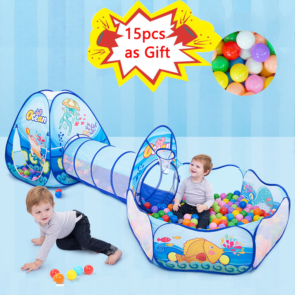 3 Pcs/set Children's Tent Tipi Ball Pool For Kids Portable Baby Wigwam Playhouse With Crawling Tunnel Baby Ocean Ball Pit Teepee