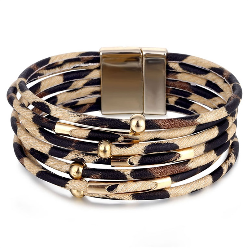 VKME Vintage Leather bracelet Leopard print women bracelet Multi-layer bracelets for women 2020 jewelry new gift