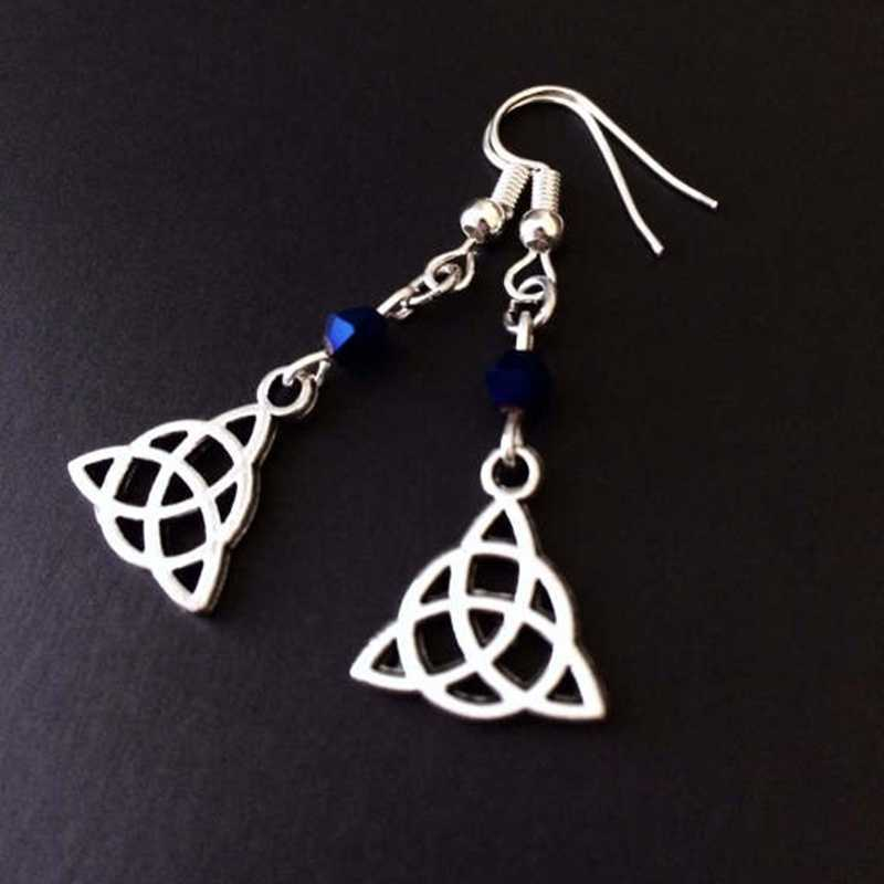 Light Box Anting-Anting, Celtic Perhiasan Light Box Perhiasan Penyihir Anting-Anting, Gothic Anting-Anting, Celtic Simpul, biru Manik-manik Anting-Anting