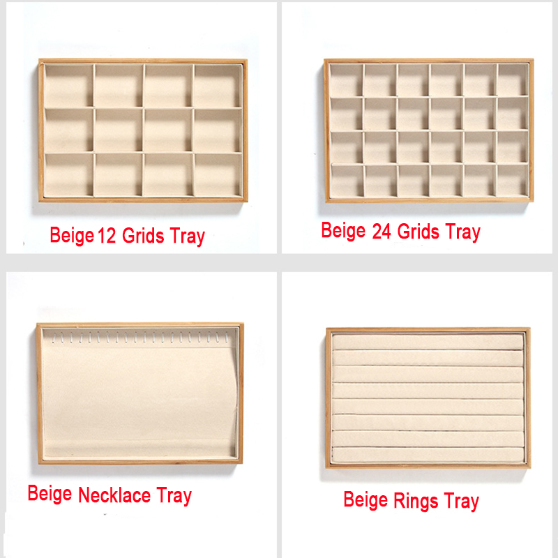 Image 5 - Bamboo Velvet Jewelry Display Tray Ring Earring Necklace Bracelet Pendant Display Organizer Jewelry Storage Box-in Jewelry Packaging & Display from Jewelry & Accessories