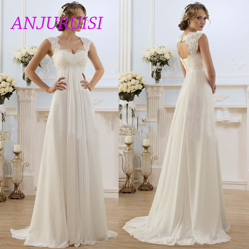 ANJURUISI Romantic Summer Chiffon Wedding Dresses Lace Top Cap Sleeve Keyhole Back Beach Wedding Gowns Pregnant Bridal Gowns