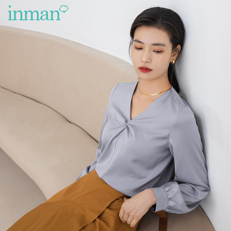 INMAN 2020 Summer New Arriavl Temperament Literary V-neck Commuting Minority Blouse