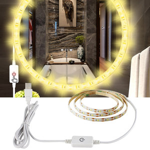 Image 2 - USB 5V Makeup Mirror Vanity LED Light strip Inductive dimming Adjustable Lighted Make up Mirrors Cosmetic vanity table lights