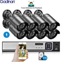Gadinan 8CH 5MP hdmi poe nvrキットcctvシステム顔検出再生 5.0MP屋外オーディオ記録ipカメラビデオ監視セット