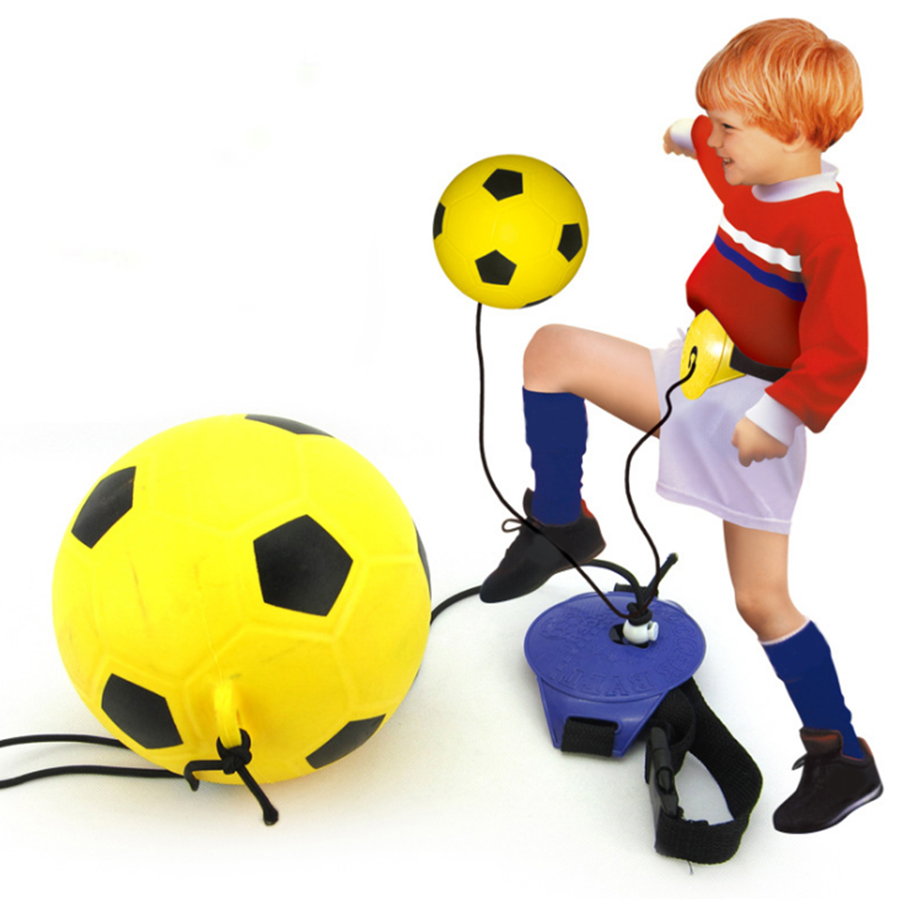 Fitness Toy Football Trainer Set With Inflator Portable Interactive Play Hands Free Kick Waist Belt Random Color Soccer Ball