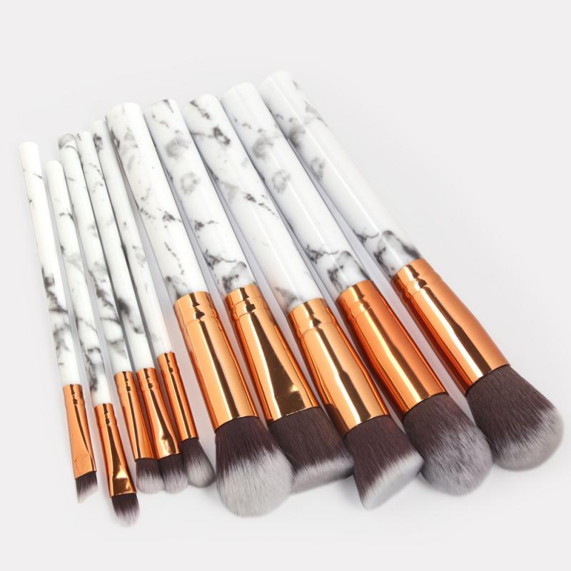 10PCS Marbling Makeup Brushes Set Professional Foundation Powder Eyeshadow Brush Concealer Lip Eye Face Cosmetics Beauty Tools