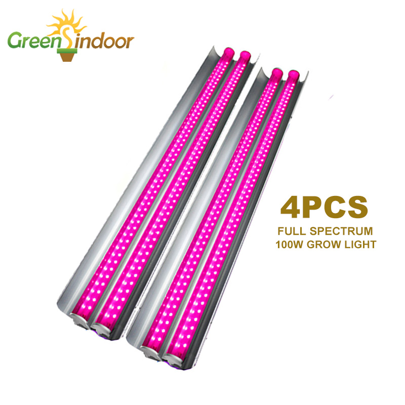 4pcs LED Grow Light 100W Full Spectrum Phyto Lamp 50cm Growing LED Lighting Double Tubes For Indoor Flowers Hydroponic Plants