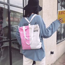 Backpacks for Women 2020 Summer New Casual Patch Letters Print Canvas Backpacks Female Students School Shoulder Bags(China)