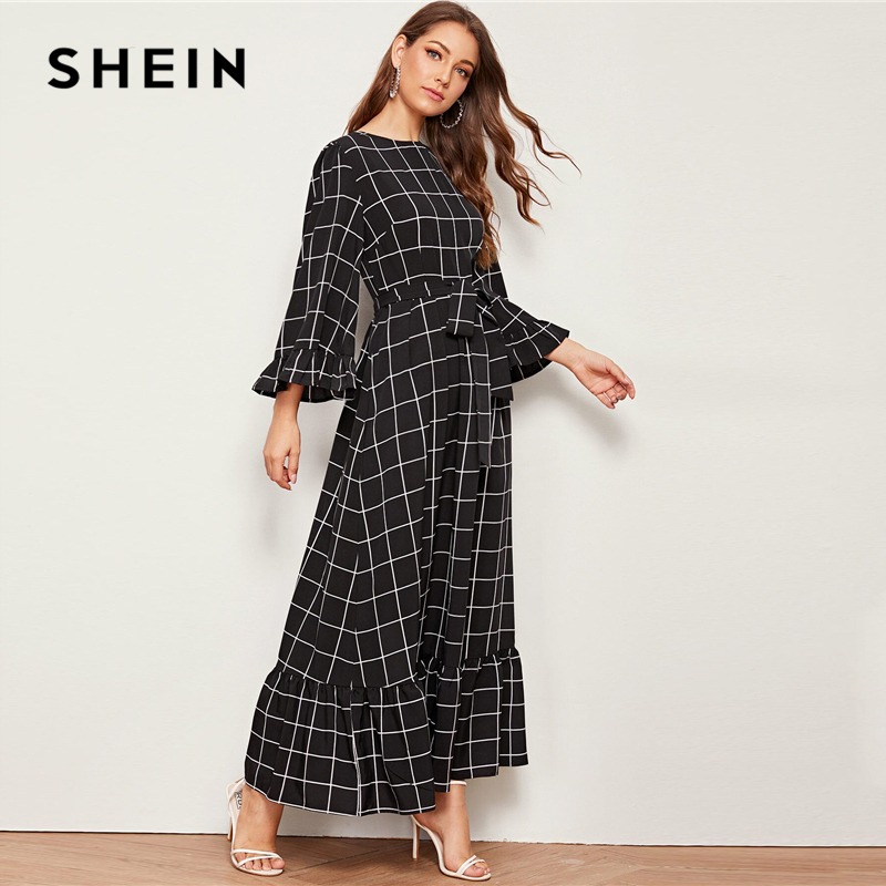 SHEIN Abaya Bell Sleeve Flounce Hem Grid Belted Maxi Dress Women Autumn Zip Back Round Neck Elegant A Line Plaid Modest Dresses 6