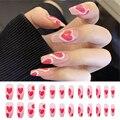 Накладные ногти в форме сердца, балерины, 24 шт., полное покрытие, искусственные гробы, накладные ногти, акриловые Типсы для дизайна ногтей, ин...