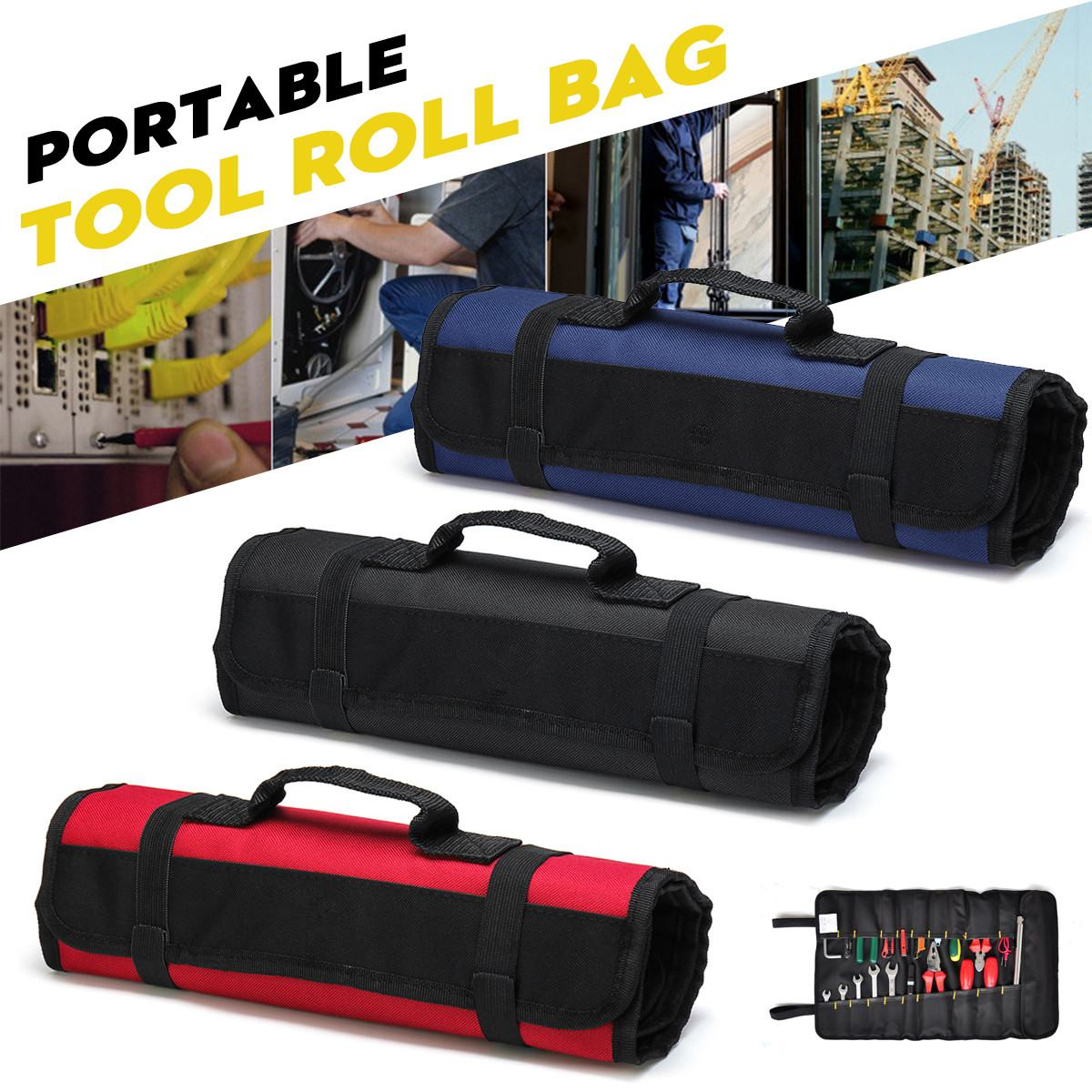 Waterproof Folding Wrench Tool Bag Multifunction Oxford Cloth Roll Storage Pocket Tools Pouch Instrument Case Tool Organizer