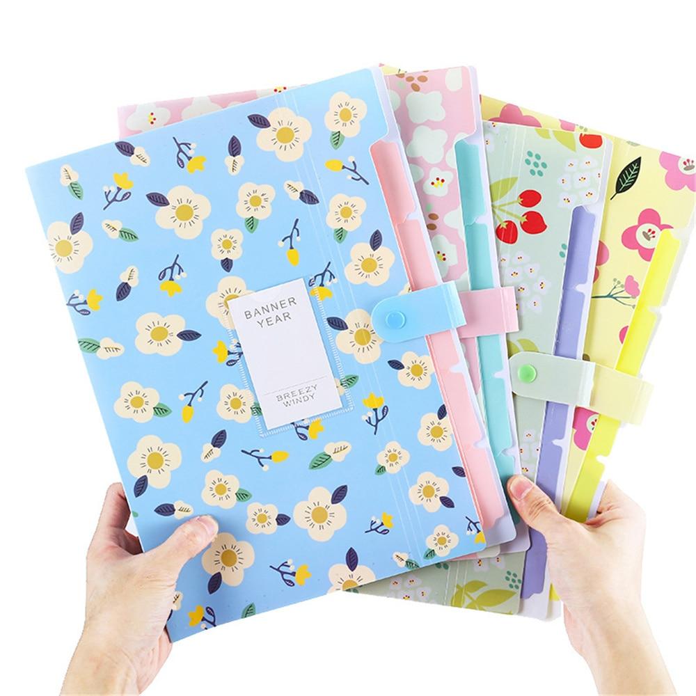 1 Pcs Colorful Fresh Floral Filing Folder Multi-function 5 Into Mezzanine File A4 Document File Folder Student School Office
