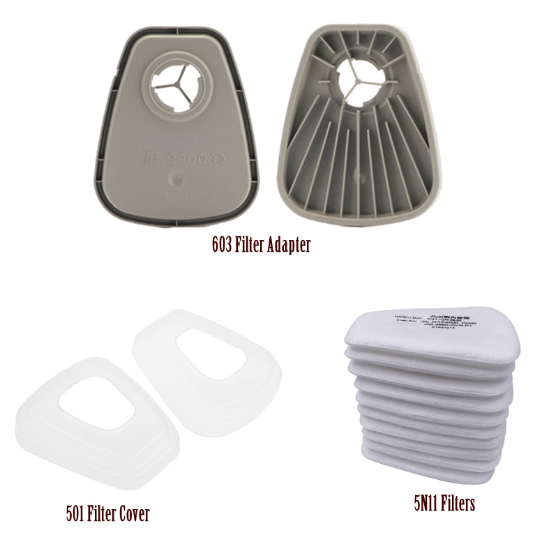 603 Filter Adapter 5N11 Cotton Filters 501 Cover Replaceable For 6200/7502/6800 Dust Mask Chemical Respirator Accessories