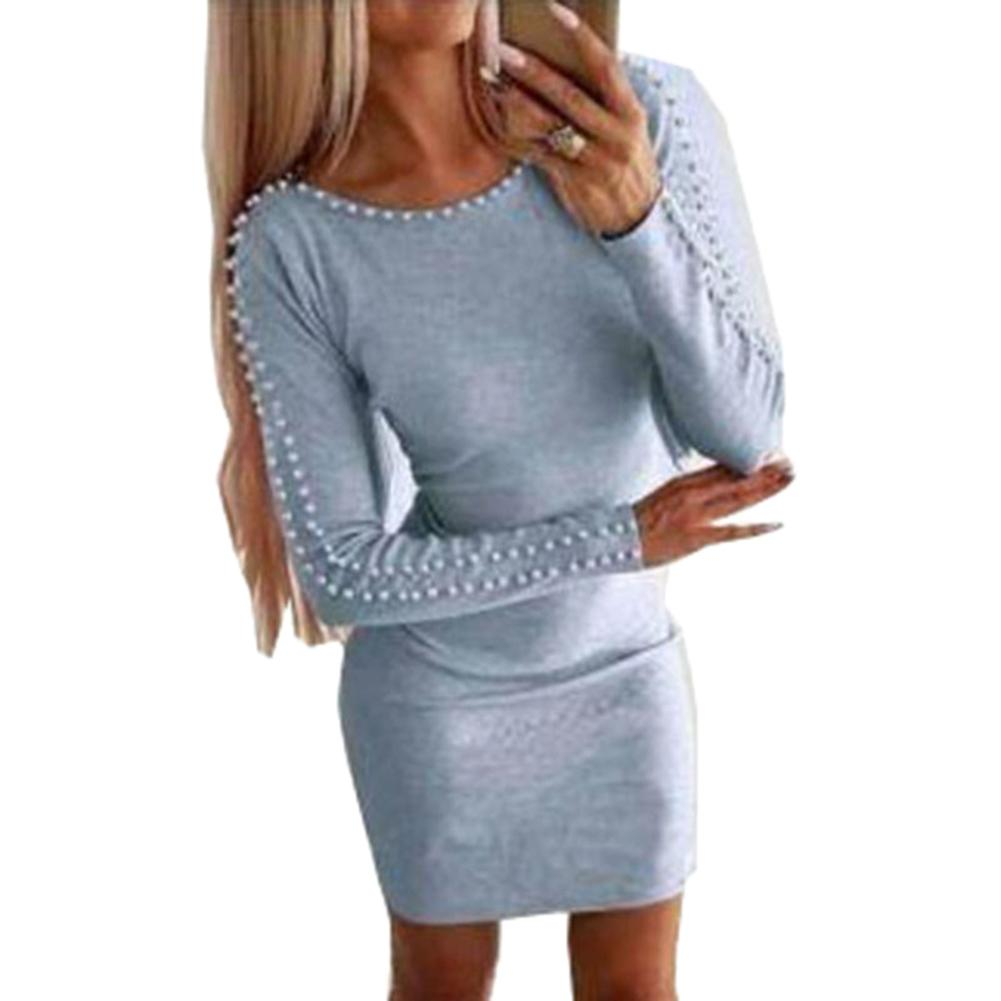 Plus Size <font><b>5XL</b></font> Autumn Women Solid Color Faux Pearl Decor Long Sleeve O Neck Bodycon Party Mini <font><b>Dress</b></font> <font><b>Sexy</b></font> Night <font><b>Club</b></font> <font><b>Dress</b></font> <font><b>Dress</b></font> image