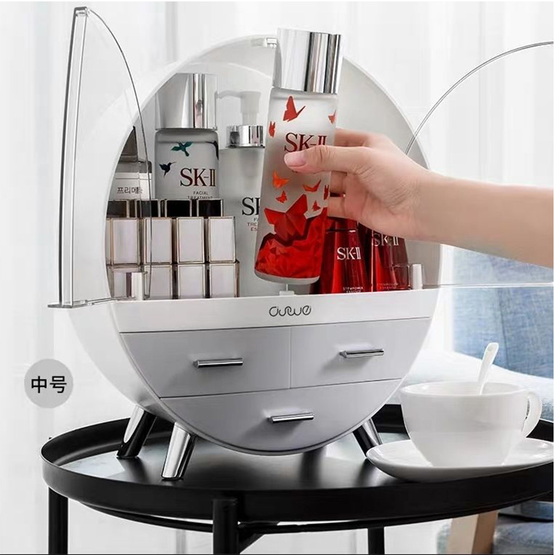 Waterproof Cosmetic Box Round Double-door  Jewelry Makeup Box Multifunctional Cosmetic Organizer Home Dust-proof Shelf