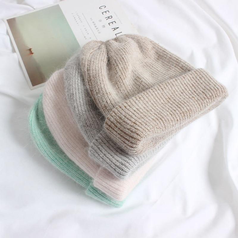 Женские вязаные шапки с кроликом из кашемира и шерсти, новая зимняя шапка для женщин|Женские Skullies и шапочки|   | АлиЭкспресс