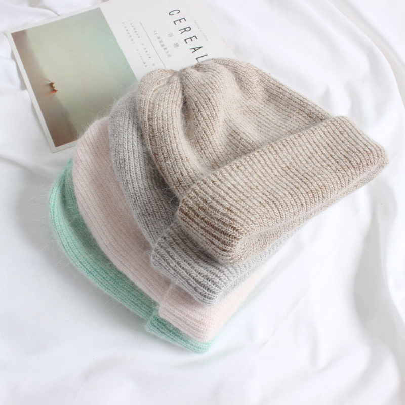 Rabbit Cashmere Knitted Beanies New Winter Hat For Women Thick Warm Ladies Wool Angora Hat Female Beanie Hats