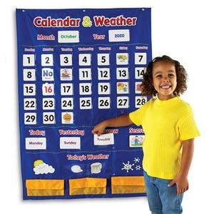 Image 2 - Godery 2020 2028 Preschool Calendar and Weather Pocket Chart Set for Kindergarten Classroom Kids