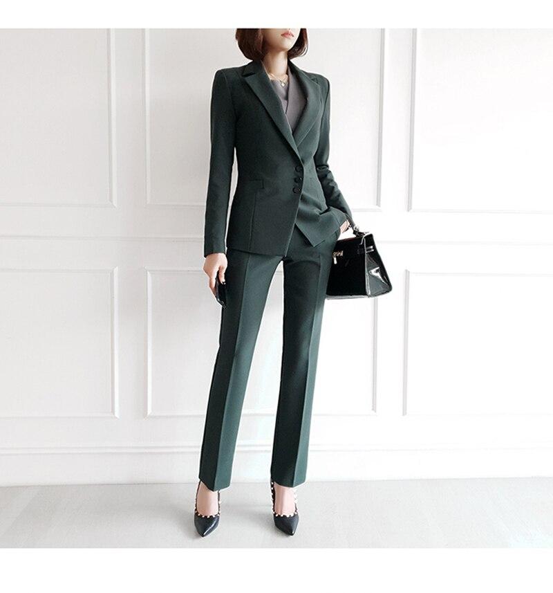 Autumn Winter Thicken Women Pant Suit  Notched Blazer Jacket & Pant Office Wear Women Suits Female Sets