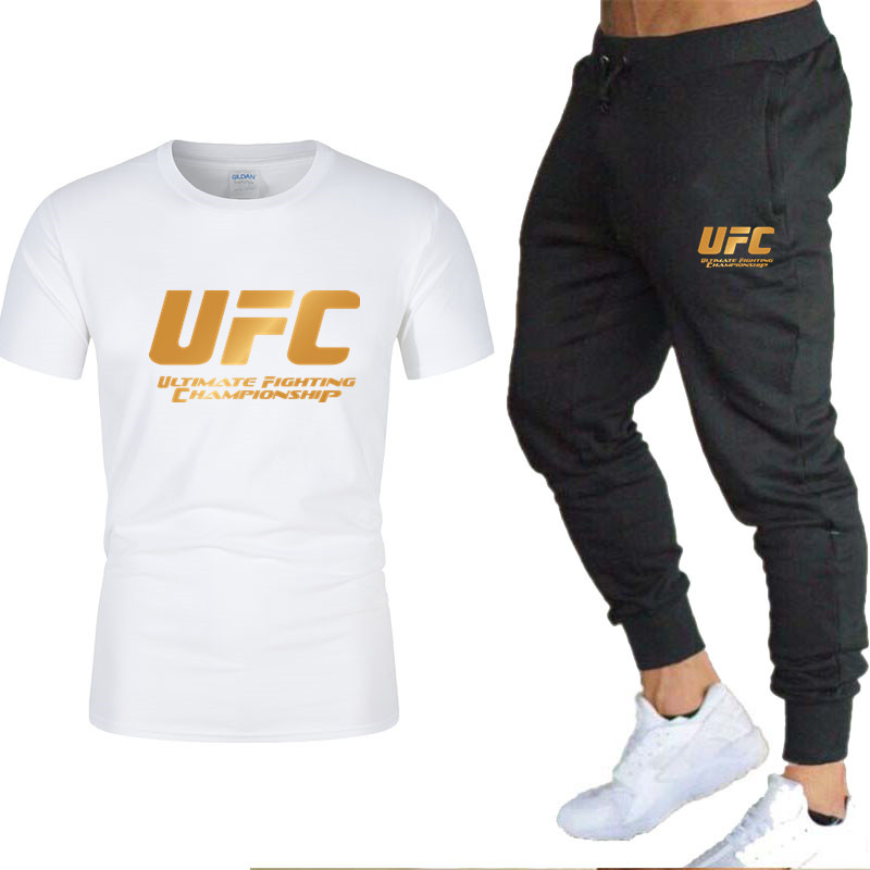 New New Fashion Men's Brand Short Sleeve + Trousers Casual Sportswear Set 100% Cotton Trend Short Sleeve T-shirt Sportswear Set