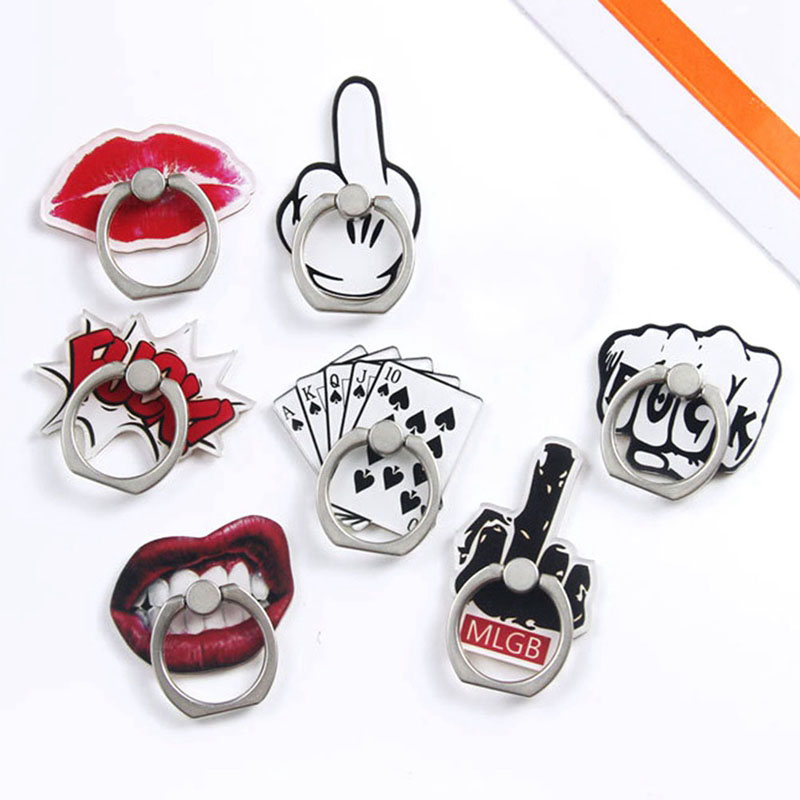 New 360 Degree Rotating Cartoon Shaped Poker Vertical Middle Finger Mobile Phone Ring Bracket For IPhone6s 7 8p X XR XS Max