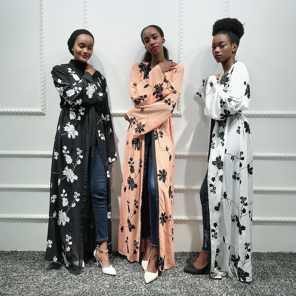 Chiffon Abaya Kimono Hijab Muslim Dress Women African Saudi Turkish Dresses Kaftan Dubai Caftan Qatar Omani Islamic Clothing