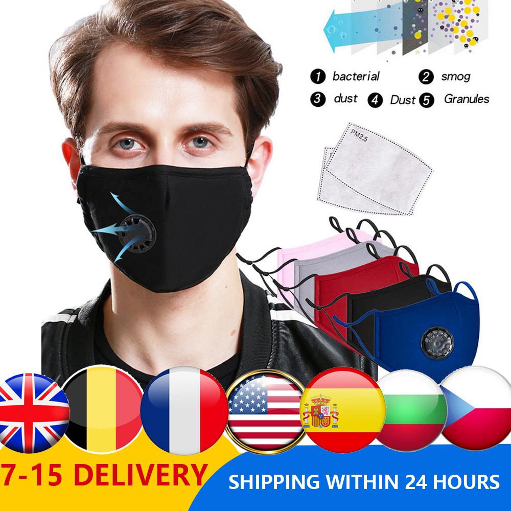 5PCS Washable Reusable Masks Cotton Unisex Mouth Muffle Pm2.5 Filter Paper  Dust Mouth Masks  Activated Carbon Mask