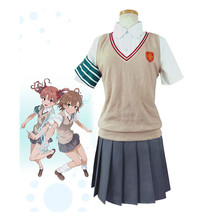 Costume de Cosplay Anime Toaru Kagaku no Railgun Shirai Kuroko Misaka Mikoto, uniforme scolaire pour filles, Costume fantaisie de fête dhalloween