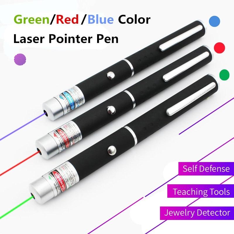 Green/Red/Blue 405nm Laser Pointer Pen Powerful Beam Defensa Personal Light Lamp Lazer Self Defense Flashlight Safety Supplies