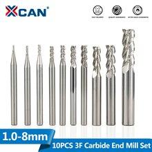 Xcan 3フルート超硬エンドミル10個1/1。5/2/2。5/3/3。5/4/5/6/8スパイラルcncルータービットアルミ切削フライスビット