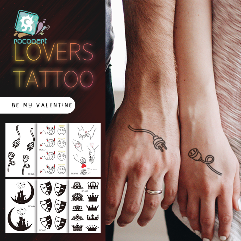 2020 Couple Temporary Tattoos Fashion Cool Body Art Beauty Makeup Valentine's Day Tattoo Waterproof Hand Fake Tatoo 10.5x6cm