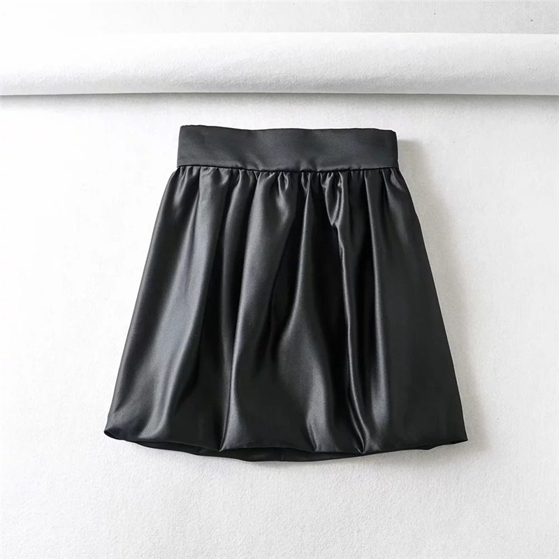 High Waist Mini Skirts Womens Streetwear Black Satin Skirt Vintage Ladies Korean Bud Skirts Zipper Pastel Ruched Skirts 2020 image