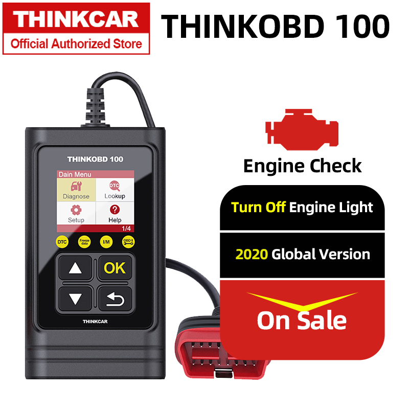 I//M Readiness Retrieve VIN for Smog Tests thinkcar THINKOBD 100 OBD2 Scanner Car Engine Fault Code Reader with Full OBD2 Functions Read//Clear Codes
