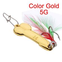 Yolo metal spoon fishing lure Feather Hook 5g 10g 15g silver gold metal fishing bait spinnerbait Treble Hook hard lures(China)