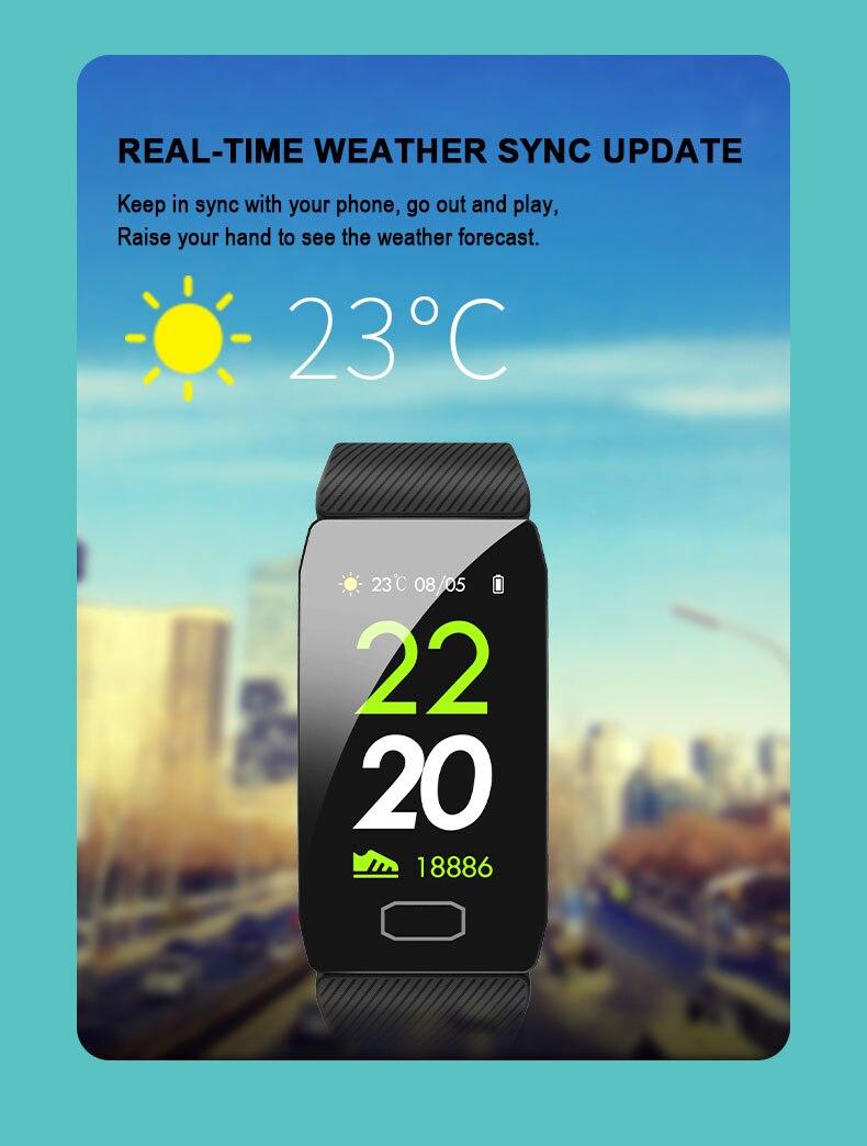 Hcc4c437417764345b69d6f3364369ddbF 1.14 Smart Band Weather Display Blood Pressure Heart Rate Monitor Fitness Tracker Smart Watch Bracelet Waterproof Men Women Kids