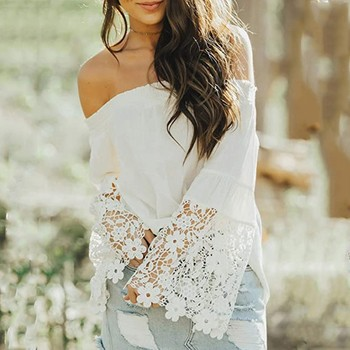 Autumn Womens Tops and Blouses Fashion White Lace Pullovers Off Shoulder Long Sleeves Hollow Out Tun