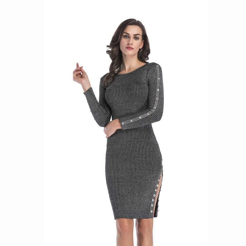 Женские вязаные вечерние платья с круглым вырезом, сексуальные и Клубные Вечерние платья на пуговицах Desiguer, женская повседневная одежда