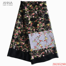 Anna african lace fabric 2020 high quality embroidered french net lace nigerian tulle fabric 5 yards/piece for women party dress(China)