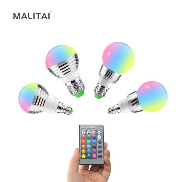 1Pcs Lovely 16 Colors RGB Christmas Decor Atmosphere LED Night light E27 5W 110V   220V LED lamp Spotlight Bulb + IR Remote