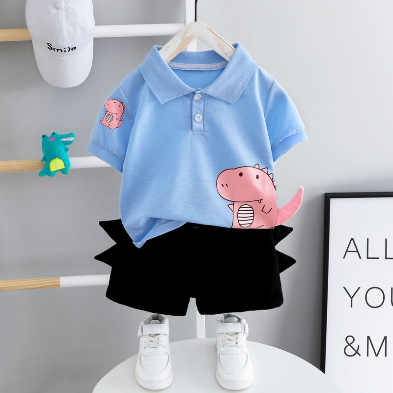 Baby Clothes Summer Suit Toddler Boys Short Sleeve Top + Black Shorts Children Outfits 2 Pieces 1-4 Year Old Baby Kids Clothes 2